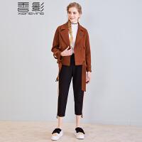 香影毛呢小外套 2017冬装新款时尚翻领呢大衣女短款纯色休闲夹克