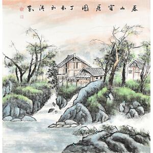 当代画家玉清写意四尺斗方山水画gs00986