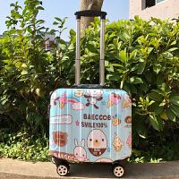 韩版18寸登机箱小行李箱女16迷你万向轮拉杆箱儿童旅行箱密码箱 微笑蓝兔 镜面款
