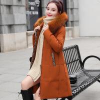 羽绒服女中长款2018新款韩版加厚潮时尚外套女装冬装大毛领白鸭绒