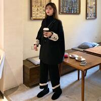 女神范时尚套装女秋冬2018新款毛呢外套针织衫阔腿裤网红两件套女