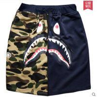 迷彩短裤男休闲五分裤潮牌5分裤运动裤子中裤逗比鲨鱼沙滩裤可礼品卡支付