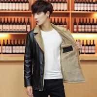 冬季男士PU皮衣韩版休闲皮夹克中长款男风衣加绒外套
