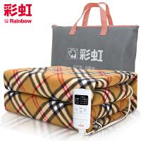 彩虹电热毯定时双人双控双温电热毯电褥子电热垫W14E适合1.5米床(颜色随机发货)