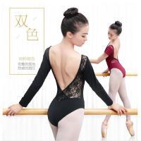 体操服女舞蹈练功服芭蕾舞长袖蕾丝连体服秋教师形体服舍宾服