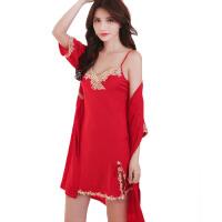 性感内衣女士诱惑短袖刺绣开叉红色两件套性感睡衣睡裙