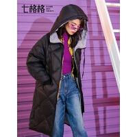 七格格菱格羽绒服女2018新款韩版宽松加厚保暖连帽冬季外套中长款