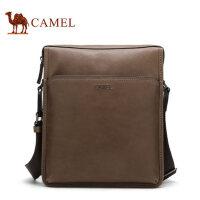 Camel骆驼男士单肩包男版商务男包斜挎胸前包男时尚牛皮背包