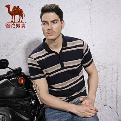 骆驼男装夏季青年条纹商务休闲上衣 青年棉微弹舒适短袖T恤男
