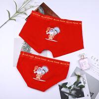 2018新款红色结婚情侣内裤本命年纯棉低腰男士平角女三角大码透气创意套装 子红色 背媳妇
