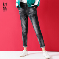 初语冬季新款 磨白抓痕潮帅风修腿显瘦牛仔长裤