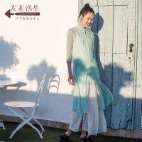 生活在左春夏季女装新款茶白绿中袖衬衣连衣裙拼蚕桑丝中长款裙子