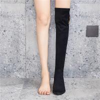 新款女靴过膝靴女长筒靴女瘦瘦中跟平底长靴弹力靴 领跑915-3黑色