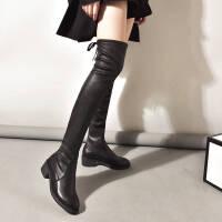 【加绒软皮】长筒靴子女新款过膝靴秋冬季低跟粗跟高筒显瘦弹力靴