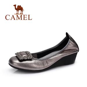 Camel/骆驼女鞋 新款 时尚休闲浅口单鞋 舒适坡跟女鞋