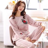 秋冬季珊瑚绒睡衣女冬加厚韩版女士两件套可爱法兰绒家居服可外穿
