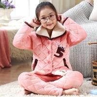 儿童睡衣女童冬季珊瑚绒夹棉保暖中大童家居服小孩套装