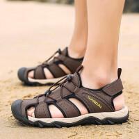 夏季时尚利卡森 凉鞋男夏季韩版防滑透气男士皮凉鞋沙滩鞋时尚潮流镂空洞洞鞋