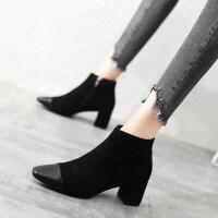 短靴女春秋单靴欧美绒面粗跟高跟鞋时尚靴子女2019秋款马丁靴女潮 黑色