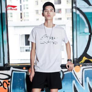李宁短袖T恤男士新款运动生活系列圆领潮流印花短装夏季运动服AHSM283