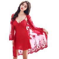 女士夏季性感内衣睡衣两件套装刺绣仿真丝长袖睡裙