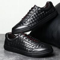 夏季商务男鞋休闲皮鞋个性编织好搭配透气英伦大码板鞋45码46码47夏季百搭鞋 黑色