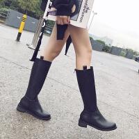长靴女秋冬2019新款靴子百搭长筒靴皮靴方跟拉链骑士靴网红高筒靴 黑色