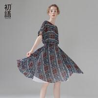 初语夏季新款 英伦风复古印花宽松短袖及膝连衣裙