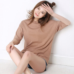卡茗语2017夏季新款韩版竹节棉短袖t恤女宽松款纯色简约百搭上衣
