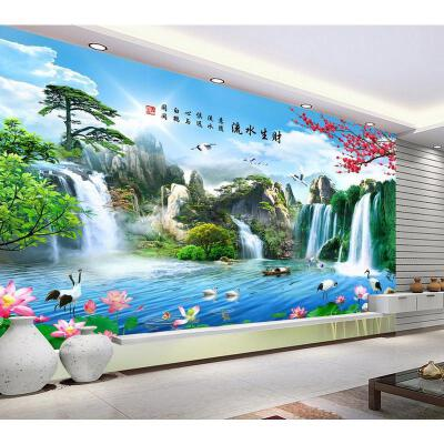 新款5D山清水秀流水生财满钻石画山水画粘贴钻十字绣客厅大幅中式