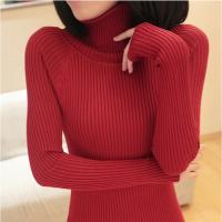新款秋装高领毛衣外套针织衫打底衫套头长袖女士中长款秋冬季加厚 均码