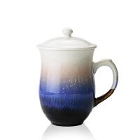 乾唐轩活瓷杯 雪晶月季高杯盖杯 高档陶瓷水杯子办公杯商务礼品杯