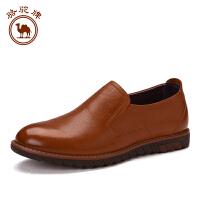 骆驼牌 新款男士休闲皮鞋潮鞋男英伦套脚时尚舒适低帮鞋