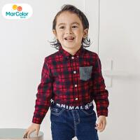 巴拉巴拉马卡乐童装男宝宝2019冬季新款男童拼接口袋领结长袖衬衫