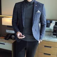 短款修身韩版秋冬冬季男士毛呢外套英伦休闲青年休闲西服