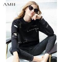 【到手价:102元】Amii极简时尚学院风加绒卫衣女洋气冬新款宽松圆领绣花落肩袖卫衣