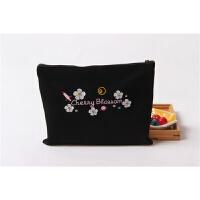 樱花刺绣零钱包帆布小布袋收纳袋手机袋手拿包卡包 女 樱花 黑色