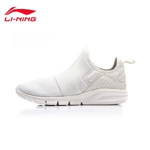 李宁休闲鞋女鞋轻便耐磨防滑一体织潮流运动鞋AGLM088