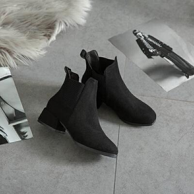 2019新款春秋平底短靴女切尔西女靴子冬季百搭裸靴网红马丁靴ins 黑 色
