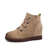 camel 骆驼女鞋 秋冬新品 时尚简约英伦内增高舒适保暖靴子