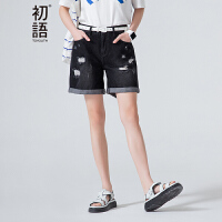 初语夏季新款 破洞抓痕卷边阔腿牛仔短裤女8621835052