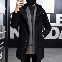 2018冬季羽绒服男中长款韩版加厚青年连帽休闲男士冬季外套潮流
