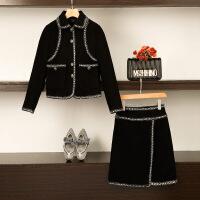 大码女装秋冬季微胖妹妹mm2018新款小香风套装裙网红洋气显瘦两件 黑色