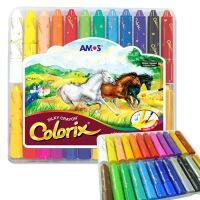 AMOS 24色旋转可水洗(蜡笔/粉彩/水彩三合一)韩国进口CRX5PC24粗杆塑料盒装儿童绘画工具幼儿园儿童涂色涂鸦