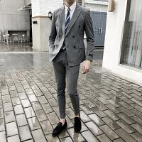 双排扣小西装套装男青年韩版修身帅气西服发型师新郎伴郎结婚礼服