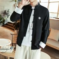 春季男装中国风棉麻长袖衬衫立领盘扣刺绣唐装衬衣青年打底衫外套