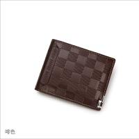 驾驶证钱包一体男士钱包短款压花格子零钱包外带插卡横款钱夹
