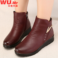乌龟先森 妈妈鞋 女士冬季新款加绒大码棉皮鞋女式平底中老年人保暖女鞋