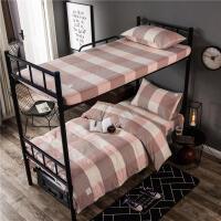全棉色织运动风三件套床笠款ins单人床单被套1.2米学生宿舍床品0.9m/1.0米床