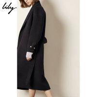 Lily春秋新款女装韩版全羊毛系带毛呢大衣1947